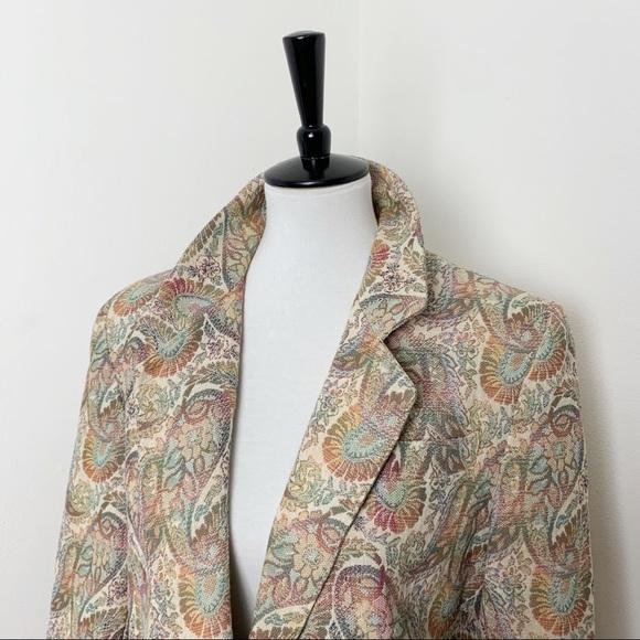 Vintage Oversized Paisley Textured Blazer Coat